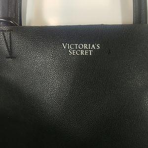 NWOT Faux Leather Victoria Secret Black Tote Bag